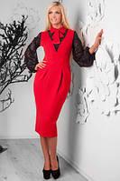 Платье женское офисное (красный)