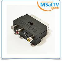 Переходник Scart на 3 RCA и S-Video с переключателем