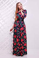 ПЛАТЬЕ ШАРЛИ Д/Р длинное темно-синее платье с розами