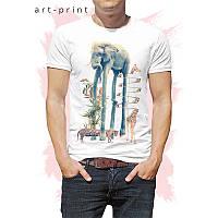 Мужская футболка хлопок белая с животными