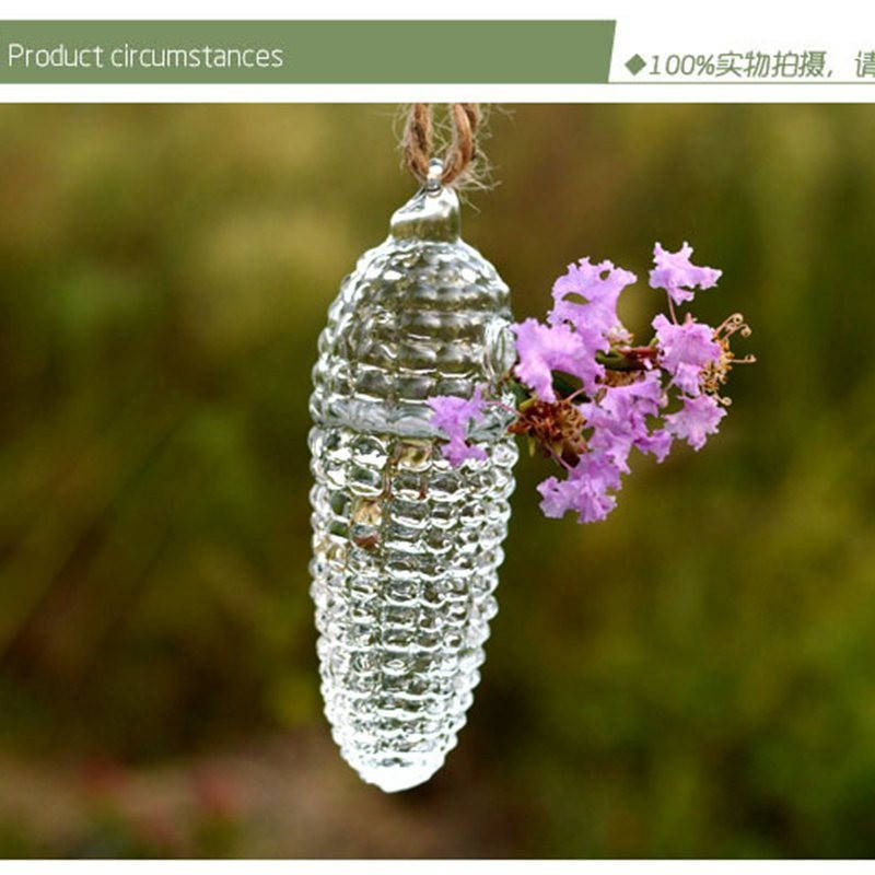 Вазочка из тонкого стекла подвесная в форме шишки