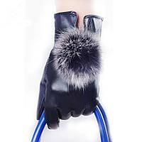 Зимние кожанные женские перчатки с меховым пушком