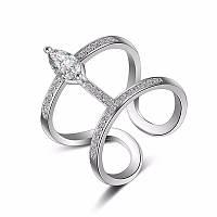 Кольцо серебрянное женское регулируемое геометрической формы