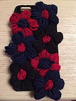 Чехол на iPhone 6/6s plus плюшевые цветы чёрные