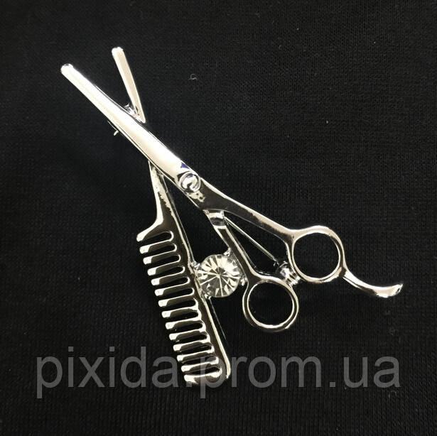 Брошь набор парикмахера фианиты серебристый
