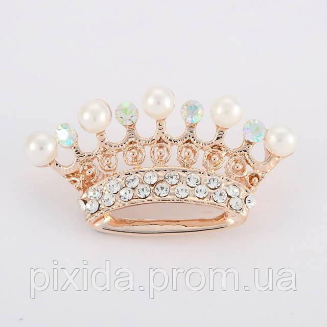 Брошь корона фианиты позолота