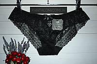 Трусики кружевные черные низкая посадка с вышивкой Coeur Joie