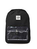 Городской рюкзак черный с прозрачным карманом ШТОРМ классик 16л.