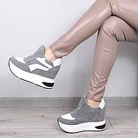 Кроссовки женские на платформе Sporty серые , спортивная обувь