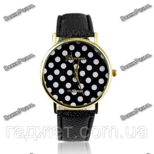 Женские часы Geneva Polka черного цвета