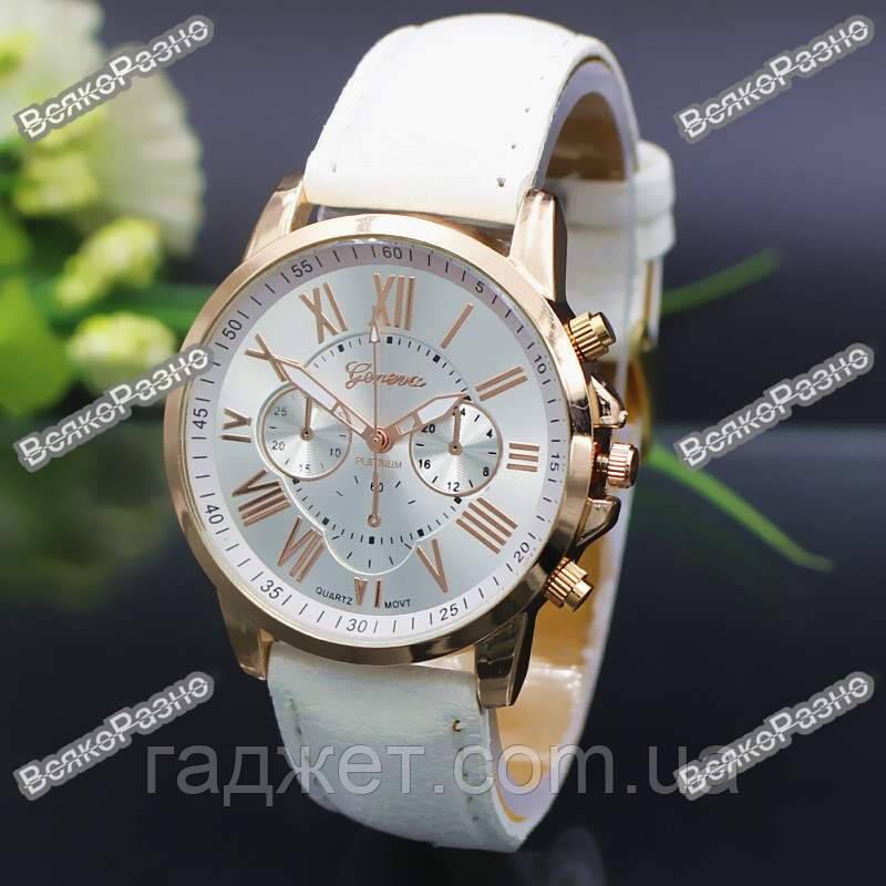 Часы Geneva с ремешком с кожи PU белого цвета