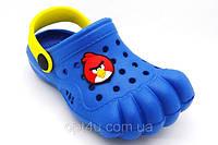 Обувь детская пляж по типу кроксы Лапки синий 2020, размеры 24-29
