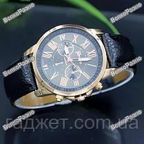 Новинка!!! Часы Geneva с ремешком с кожи PU черного цвета, фото 2
