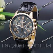 Новинка!!! Часы Geneva с ремешком с кожи PU черного цвета, фото 3