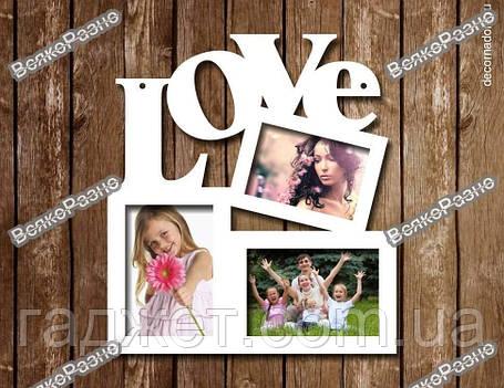 Фоторамка LOVE на три фото., фото 2