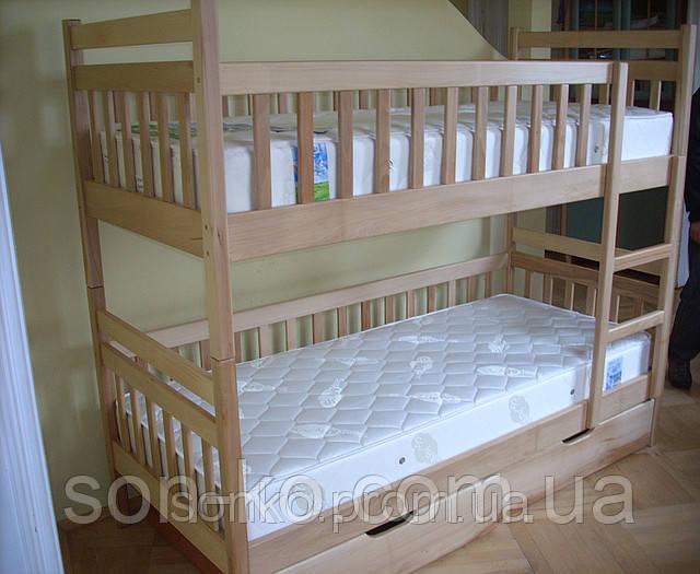 Двоярусне ліжко з масиву буку Олександр