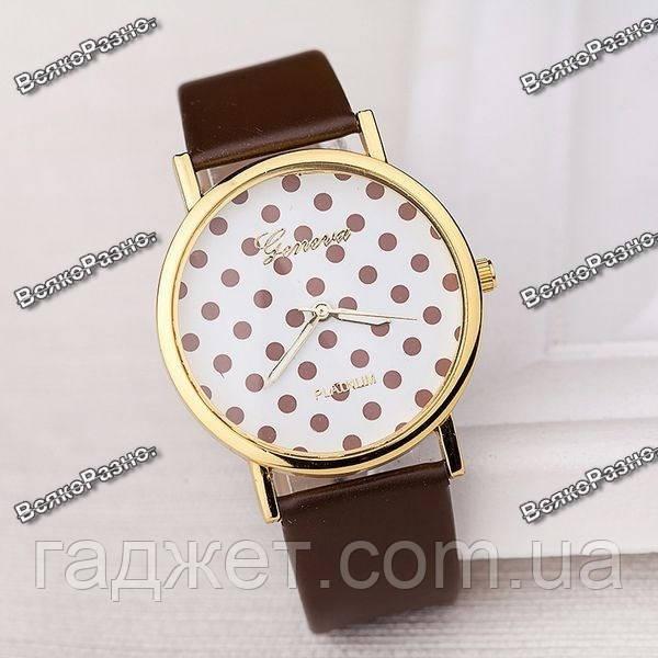 Женские часы Geneva Polka коричневого цвета