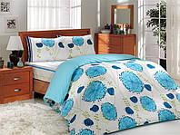 Постельное белье комплект HOBBY ранфорс Almina полуторный голубой