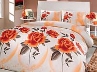 Комплект постельного белья HOBBY ранфорс ELENA евро оранжевый
