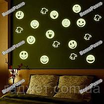 Люминесцентные наклейки смайлик. Детские светящиеся наклейки., фото 3
