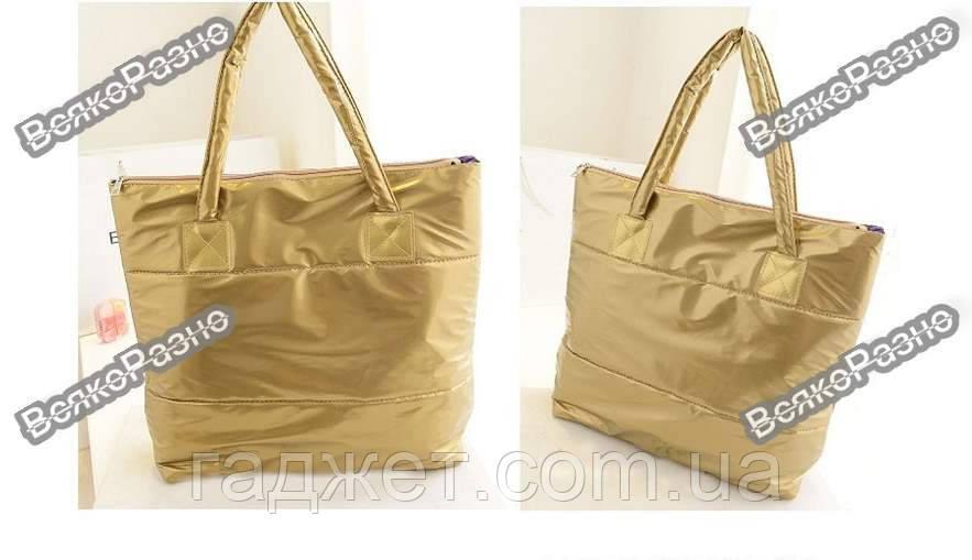 Женская нейлоновая сумочка золотого цвета