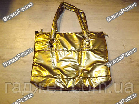 Женская нейлоновая сумочка золотого цвета, фото 2