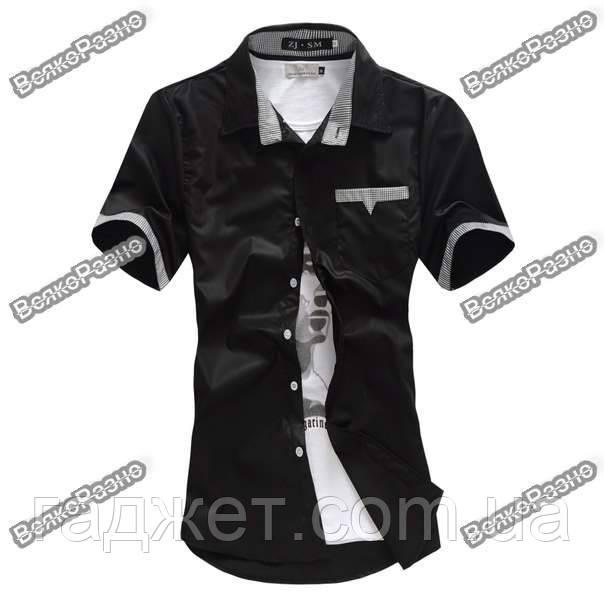 Мужская рубашка с коротким рукавом размер XXL
