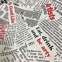 Ткань декоративная с тефлоновой пропиткой принт газета, фото 1