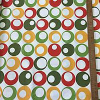 Ткань декоративная с тефлоновой пропиткой с яркими разноцветными кругами