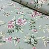 Ткань декоративная с пропиткой с розовыми цветами на оливковом фоне