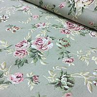 Ткань декоративная с пропиткой с розовыми цветами на оливковом фоне, фото 1