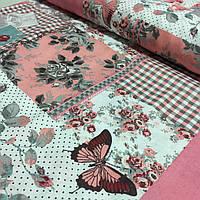Ткань декоративная с пропиткой Прованс с квадратами с цветочным узором, фото 1