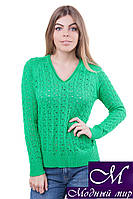 Классический женский джемпер зеленого цвета (р.42-44, 46-48, 50-52) арт.JS325