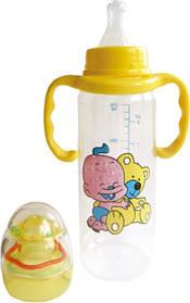 Бутылочка с ручками и погремушкой 250 мл с силиконовой соской №1114