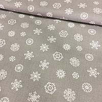 Ткань с мелкими белыми снежинками на сером фоне, фото 1