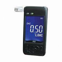 Алкотестер персональный AAT-101LC с полупроводниковым датчиком, LCD дисплеем, часы, температура