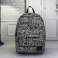Черно-белый молодежный рюкзак из холста