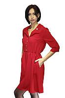 Красное женское платье с поясом