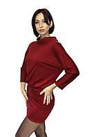 Трикотажное женское платье (бордовое)