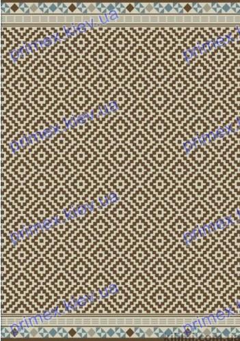 Безворсовый ковер-рогожка Balta Стар ромбы коричневый с голубой каймой
