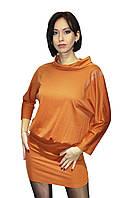 Трикотажное женское платье со стразами на плече