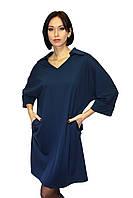 Темно-синее платье, удлиненное (большие размеры), фото 1