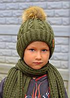 Шапочка детская Искусственный енот размер 50, цвет темно-зеленый (зимняя)