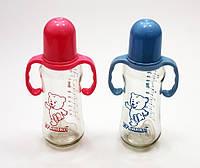 Бутылочка с ручками стеклянная 250 мл с силиконовой соской №1118