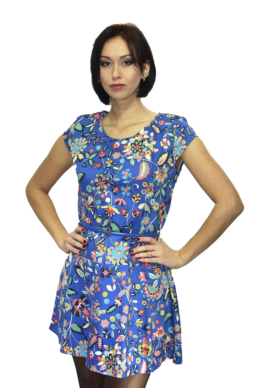 Платье Oscar Fur ПТ-9  Синий с принтом