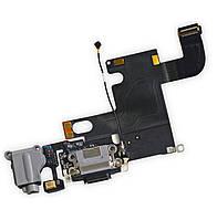 Шлейф разъема зарядки, разъема гарнитуры, микрофон iPhone 6 черный