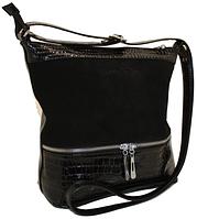 Женская кожаная сумка клатч планшет с замшевой вставкой