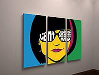 Модульная картина Абстракция Яркие Краски Девушкая 90х60 из 3-х частей