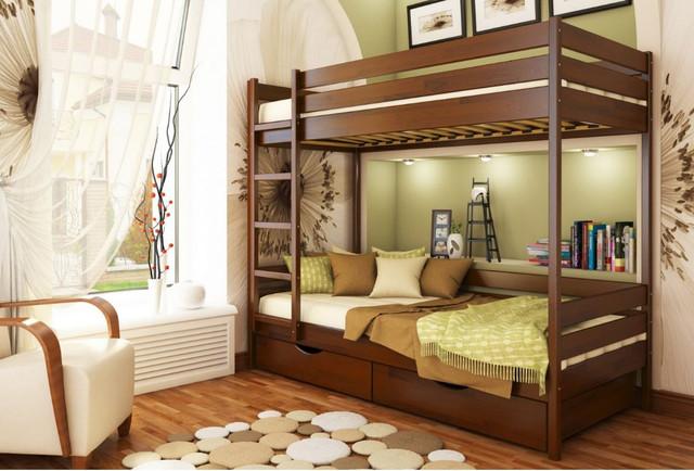 Кровать двухъярусная Дуэт тм Эстелла цвет №108 Каштан (Бук Щит)