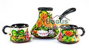 Набор кофейный 3 пр. (турка керамическая большая + 2 чашки) цветная керамика Славянск